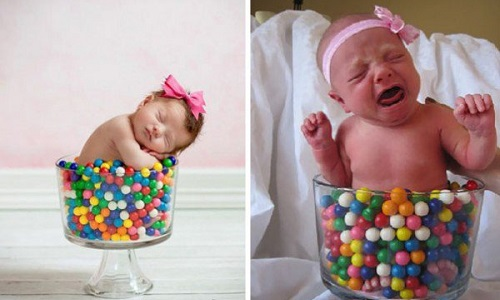 babies bringing reality to idyllic portraits