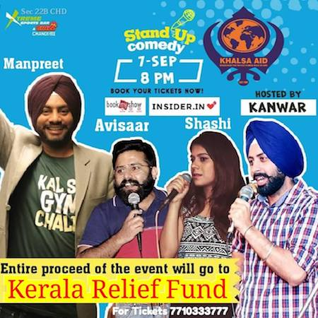 book tickets to stand up comedy for khalsa aid kerala relief fund